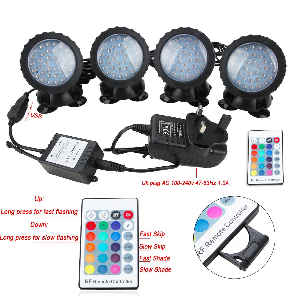 senzeal pond lights rgb color ip68 waterproof 36 led spot light with rh amazon co uk