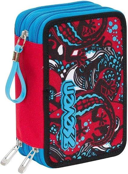 Estuche escolar completo 3 cremalleras Seven Reptil azul rojo: Amazon.es: Oficina y papelería