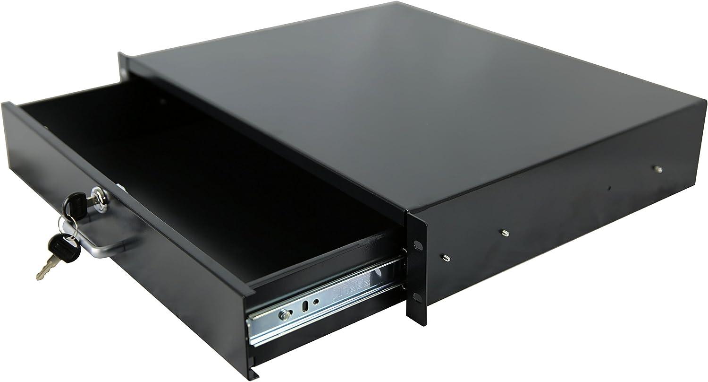 RAISING ELECTRONICS Drawer Server Cabinet Case 19 Inch Locking Rack Mount DJ Lockable Deep Drawer with Key (2U)