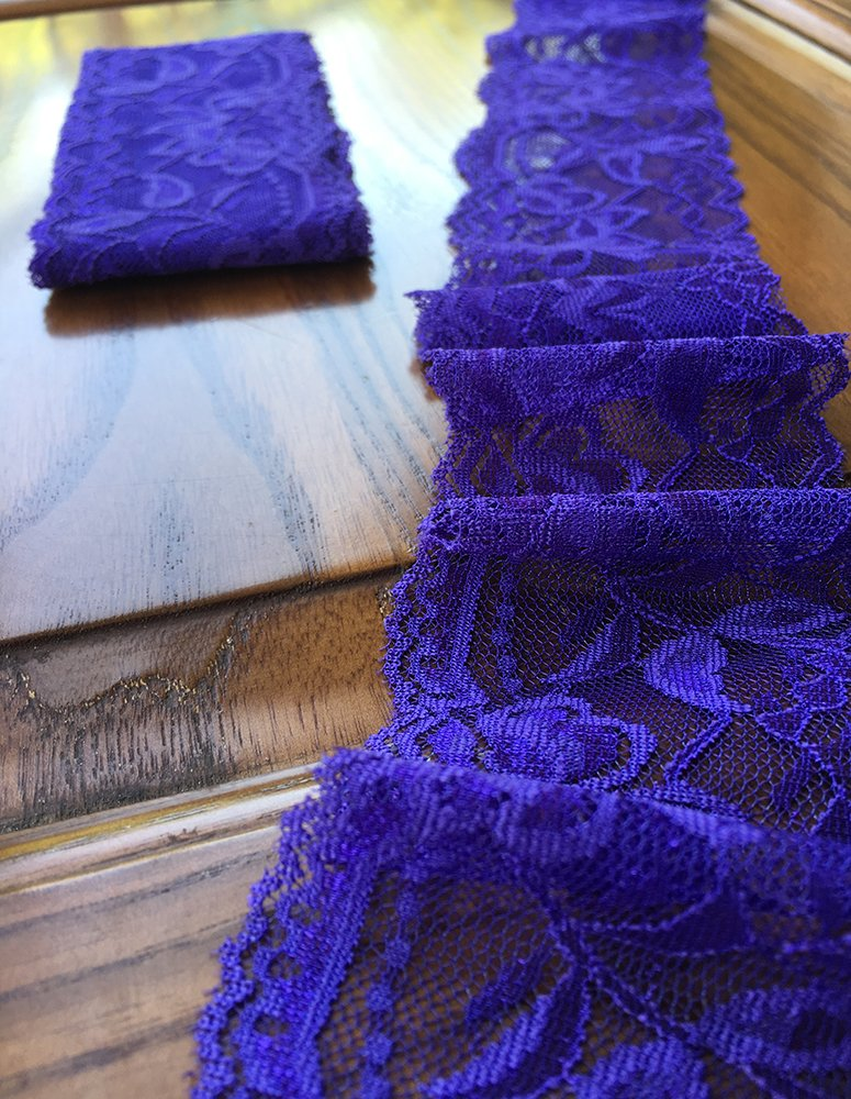 Lace Realm 2/″/×10 Yards Stretch Floral Pattern Lace Ribbon Trim Lace for Headbands Garters Decorating Floral Designing /& Crafts Royal Blue