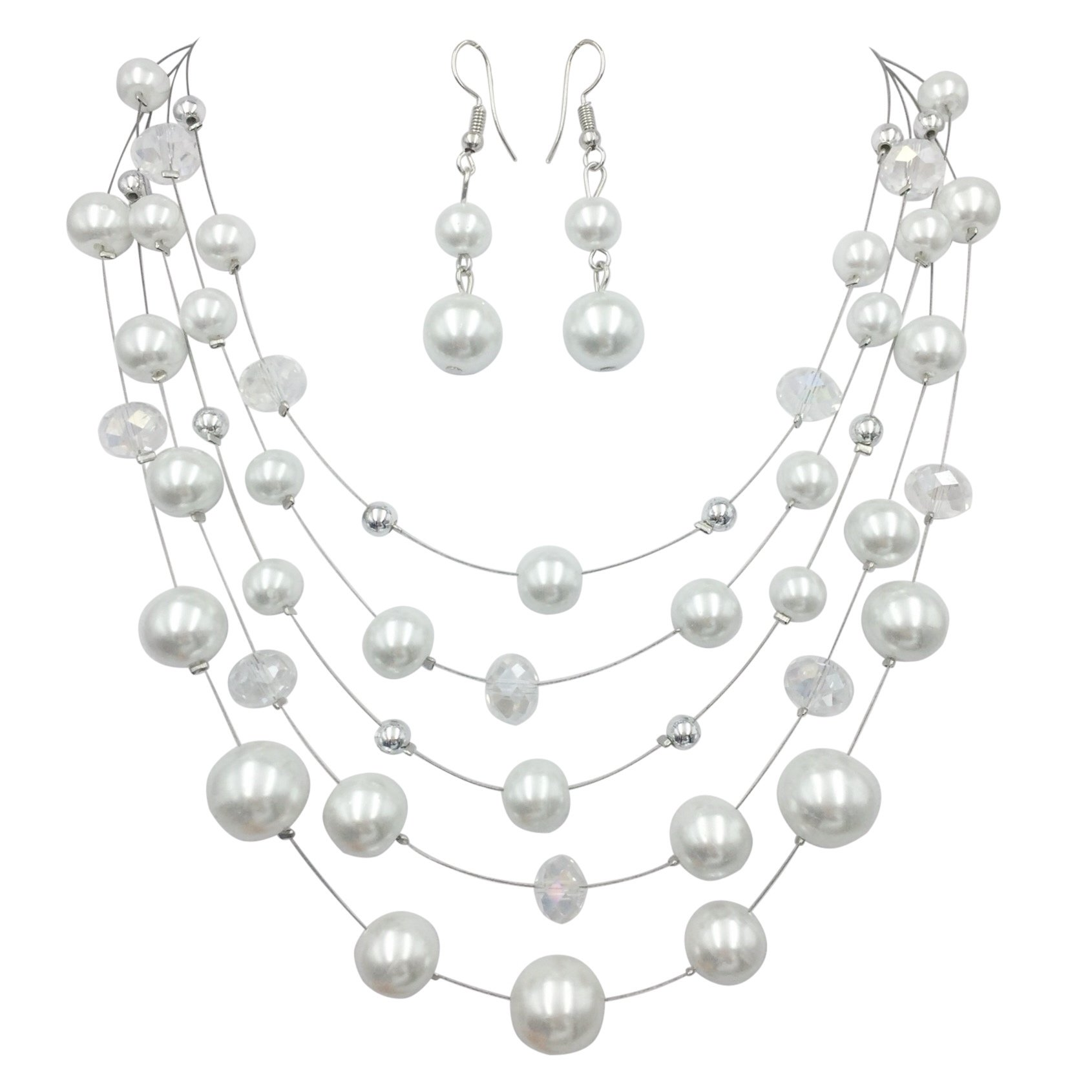 Gypsy Jewels Multi Row Beaded Illusion Wire Lightweight Necklace and Dangle Earring Set (White Simulated Pearl & Glass)