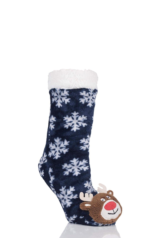 SockShop Men Women and Childrens Plush Christmas Slipper Socks Pack of 1