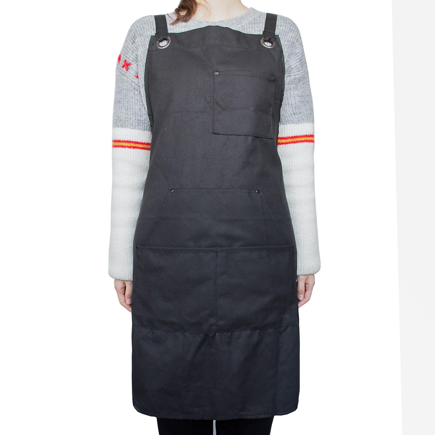 Work Apron for Man and Women, Aolvo 600D Oxford Canvas Apron with Tool Pockets, Cross-Back and Adjustable Straps, Suitable for Woodworking, Painting, Crafting, Cooking and Bartenders - Black