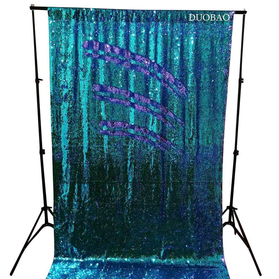 DUOBAO Sequin Backdrop 20FTx10FT Turquoise to Lavender Wedding Pics Backdrop Mermaid Reversible Sequin Photo Backdrop Baby Shower Curtains by DUOBAO (Image #3)