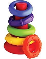 Playgro-40082 Pirámide Rock and Stack, Color Verde, Amarillo, Rojo, Lila, Naranja (4011455)