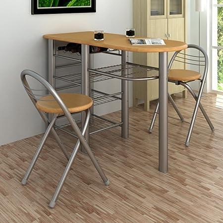 Anself - Juego de mesa y sillas de desayuno para bar/cocina,marrón ...