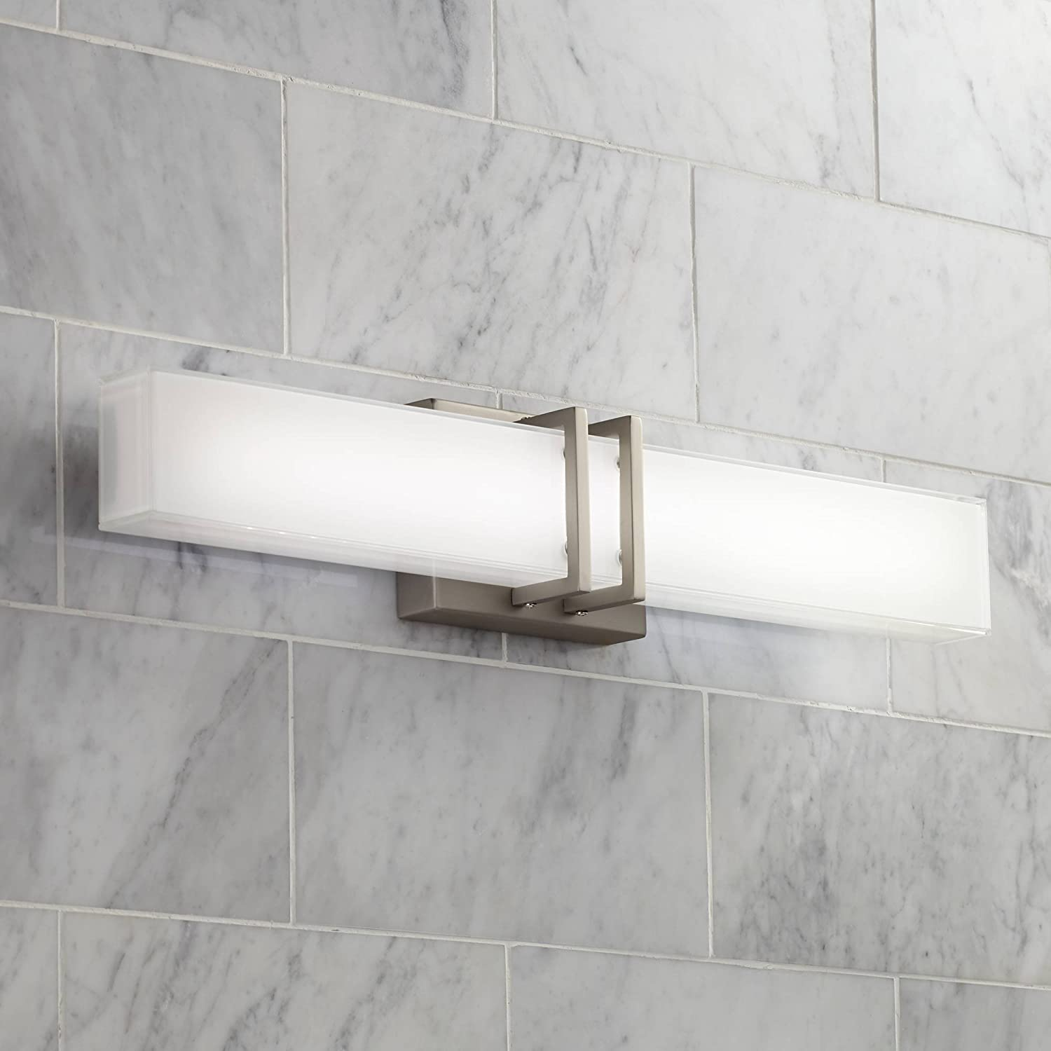 Exeter Modern Wall Light LED Brushed Nickel 24 Wide Vanity Bar Fixture for Bathroom Over Mirror – Possini Euro Design