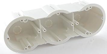 Caja de empalmes de pared hueca, caja de derivación, tapa de yeso, 3 compartimentos, 63/60 mm, 100 unidades: Amazon.es: Bricolaje y herramientas