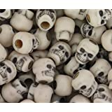 150 Dark Lilac Purple Antique 11mm Halloween Skull Pony Beads Made in the USA