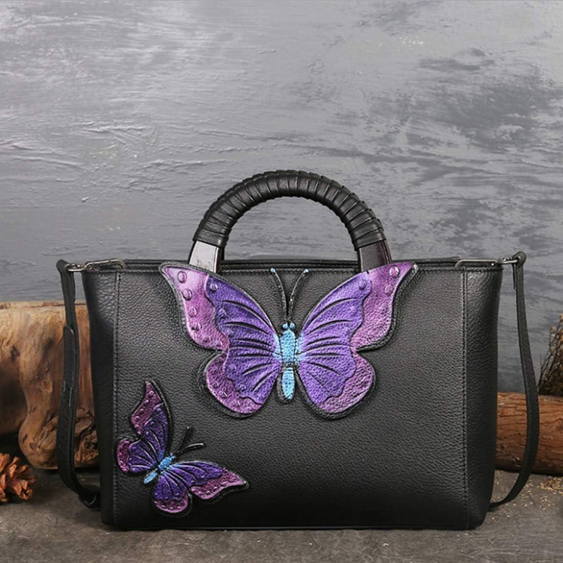 Somnrchun Borsa a Tracolla in Pelle Stile Etnico for Signora (Colore : Blue Butterfly) Purple Butterfly