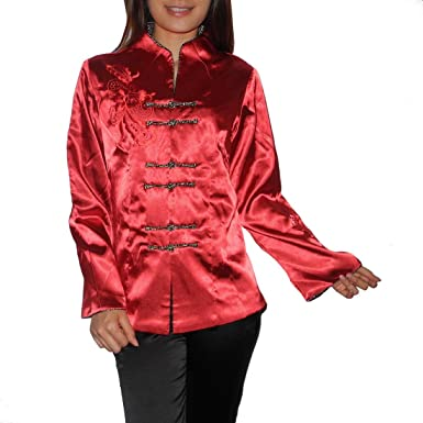 4236d8fe2 Image Unavailable. Image not available for. Colour: Outer Wear Womens  Chinese Style Silk Satin Embroidery Coat/Jacket ...