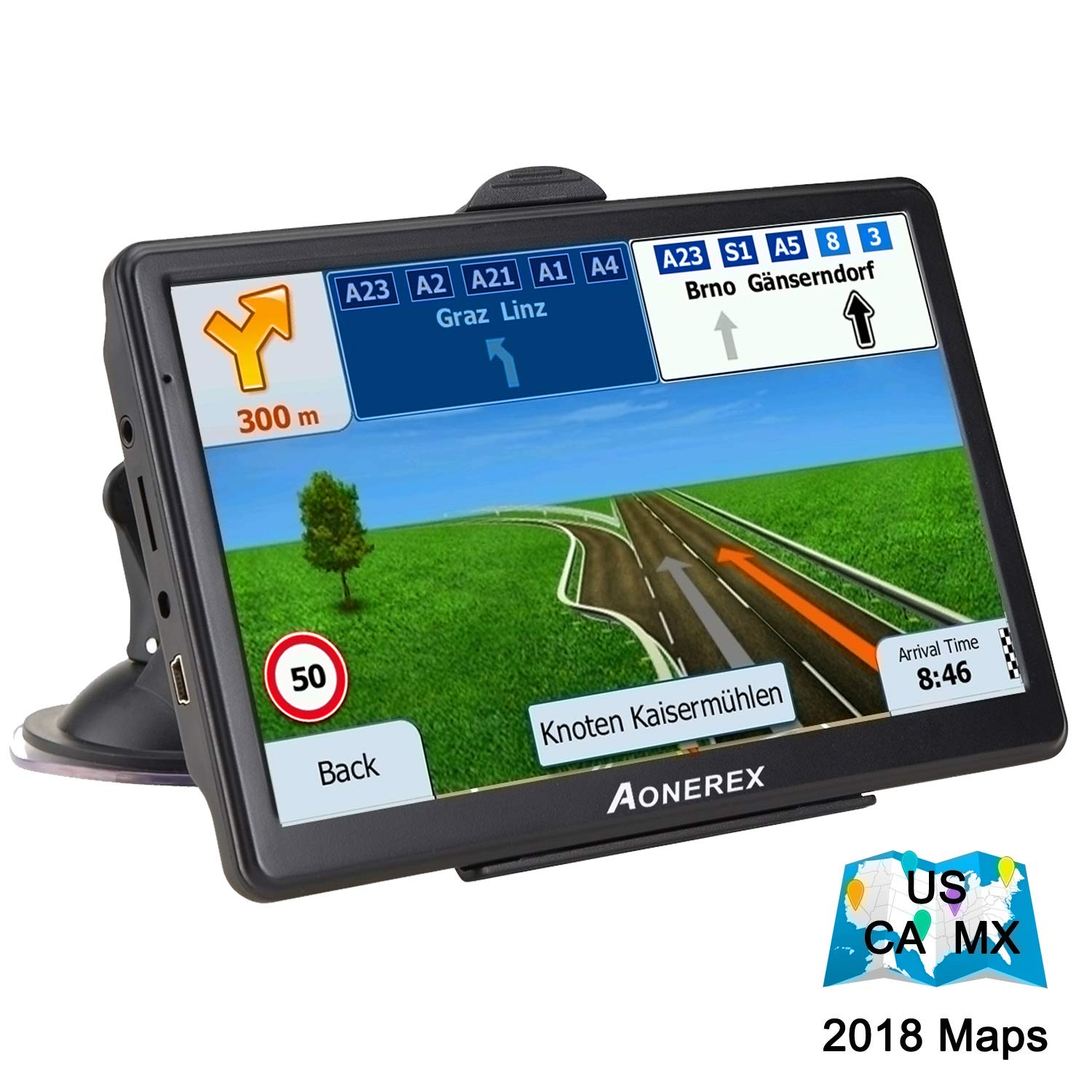 Car GPS Navigation-7 inch Touch Screen + 8GB Voice Prompt GPS Navigation System Built-in Lifetime Maps,Advanced Lane Guidance and Spoken Turn-by-Turn Directions
