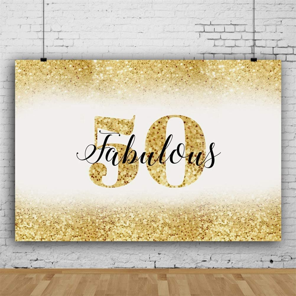 CdHBH 10x8ft Vinyl Fabulous 50th Birthday Photography Background Golden Glitter Sequins Edge Birthday Party Backdrop Old People Birthday Party Banner Family Gathering Celebration Wallpaper