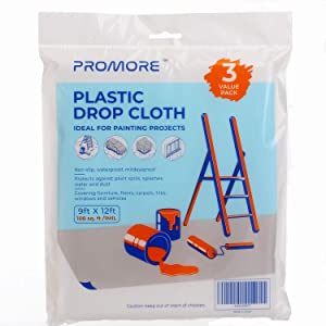 PROMORE New Painters Plastic Drop Cloth 9' x 12' (3-Pack) Clear Painting Tarp Plastic Waterproof Furniture Cover Plastic Paint Tarps and dropcloth for Painting