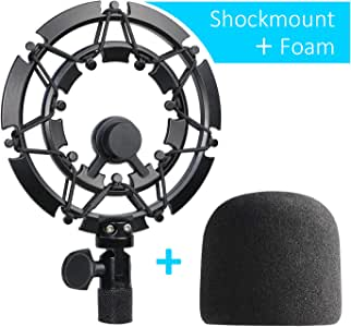 YOUSHARES Shock Mount with Foam Windscreen for Blue Yeti and Yeti Pro Microphone, Alloy Shockmount Reduces Vibration Noise and Improve Recording Quality