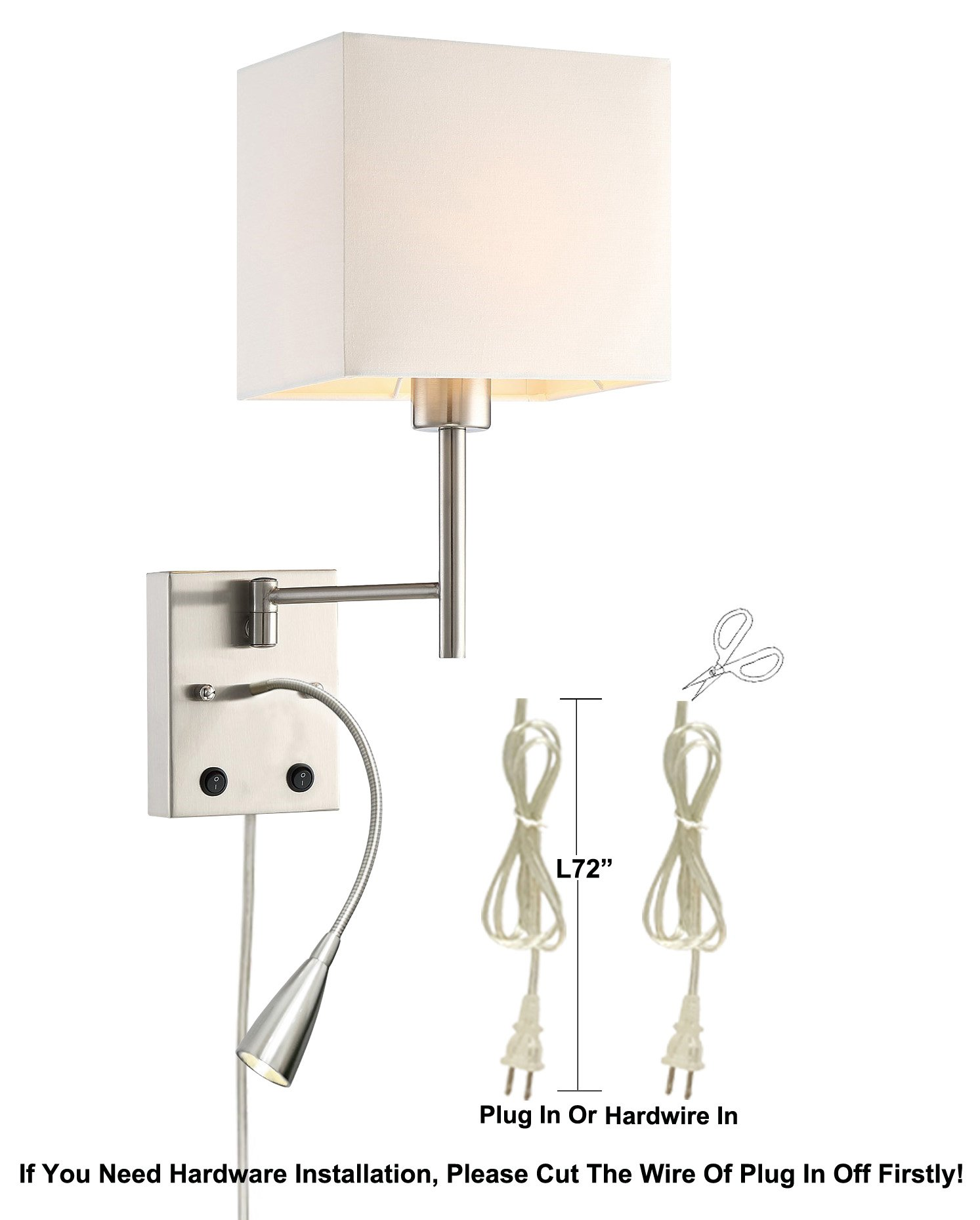 HomeFocus USB LED Swing Arm Bedside Reading Wall Lamp Light,LED Reading Swing Arm Wall Lamp Light,Wall Sconces,Living Room Wall Lamp,Corridor Wall Lamp,2 Lights 2 Switches LED 3W 3000K and E26 Holder