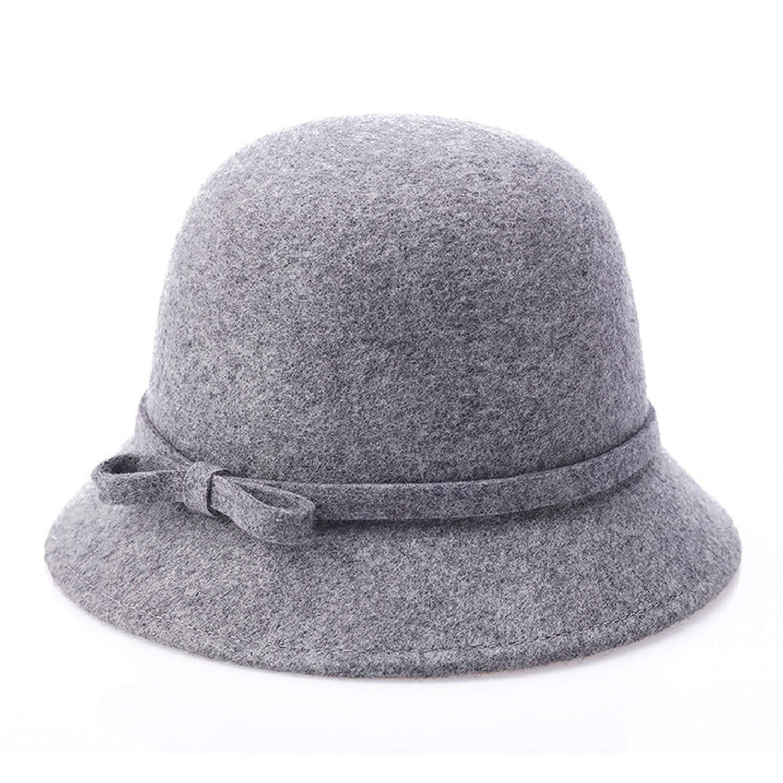 DOSOMI Vintage Stylish Winter Fedoras Hat 100/% Woolen for Women Elegant Hat Lady Girls Felt Bowler Cap