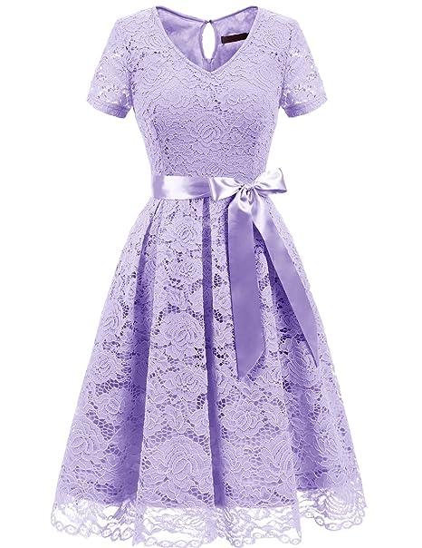 7319f1e20454 Dresstells Donna Vintage Vestito Pizzo Casual Cerimonia Manica Corta Vestiti   Amazon.it  Abbigliamento