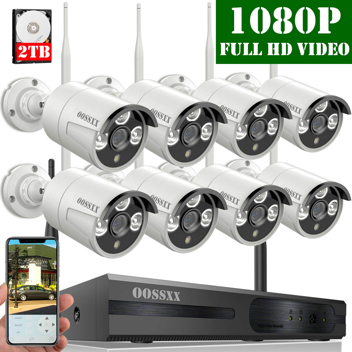 2019 Update OOSSXX 8-Channel HD 1080P Wireless Security Camera System,8Pcs 1080P 2.0 Megapixel Wireless Indoor Outdoor IR Bullet IP Cameras,P2P,App, HDMI Cord 2TB HDD Pre-Install