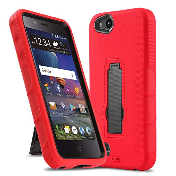 Phone Case for [ZTE ZFIVE G LTE (Z557BL) / ZTE ZFIVE C LTE (Z558VL)],  [Impact Series][Red] Shockproof [Easy Grip] Cover with [Kickstand]  (Tracfone,