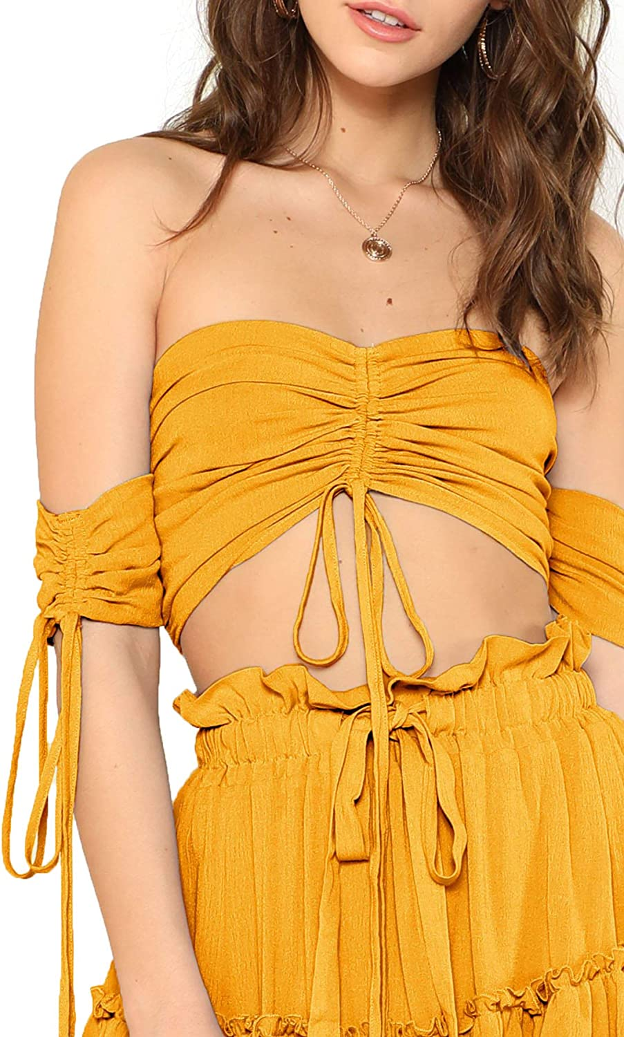 Floerns Womens Two Piece Outfit Off Shoulder Drawstring Crop Top and Skirt Set