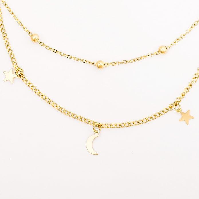 Legitta Gold Star and Moon Pendant Layered Choker Necklace 11cMz