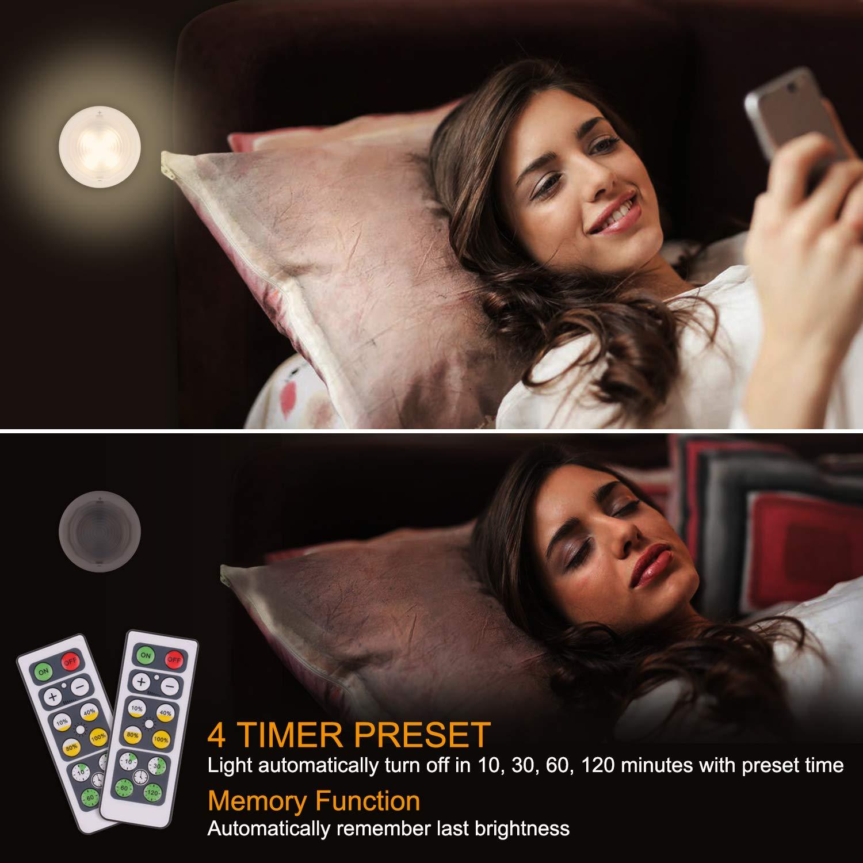 Schrankleuchten WOWGO Kabinett Beleuchtung Unterbauleuchten, drahtloses batteriebetriebenes LED Nachtlicht mit Fernbedienung für Küchen, Treppen, Kabinett und Garderobe