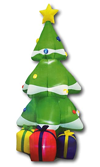 1eb6f44723e Giant Holiday Christmas Tree Inflatable with Gifts 8 feet Tall Blinking LED  Twinkle Lights and Star