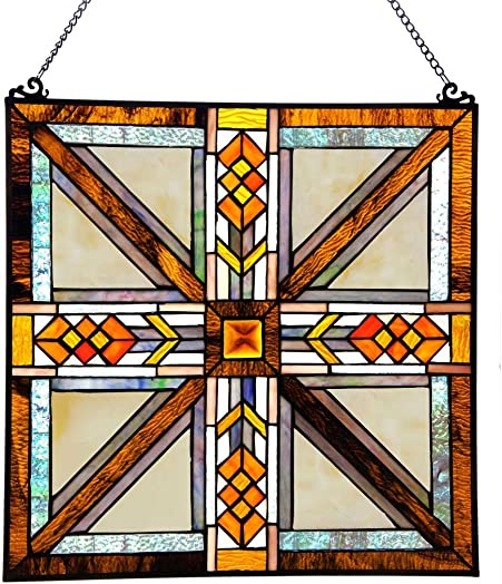 River of Goods 17.5 H Stained Glass Southwestern Mission Style Window Panel