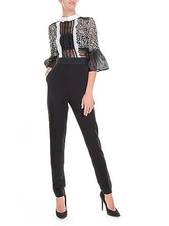 0f71b3580a12 Self-Portrait Lace Black   White Bell Sleeve Jumpsuit (Womens Size UK 10    US 6)  Amazon.co.uk  Clothing