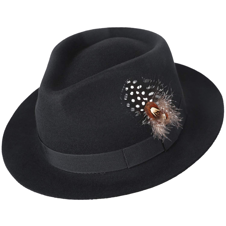 8220635a909 Amazon.com  Sedancasesa Men s Crushable Wool Felt Outback Safari Fedora Hat  with Feather Black  Clothing