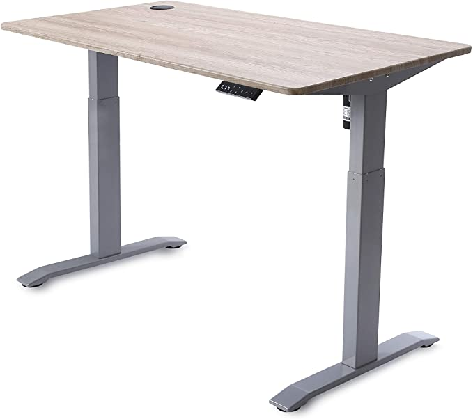 Amazon.com: UNICOO - Electric Height Adjustable Standing Desk, Electric Standing Workstation Home Office Sit Stand Up Desk with 4 Pre-Set Memory Led Display Controller (Grey Frame/Antique Oak Top - Electric): Kitchen & Dining