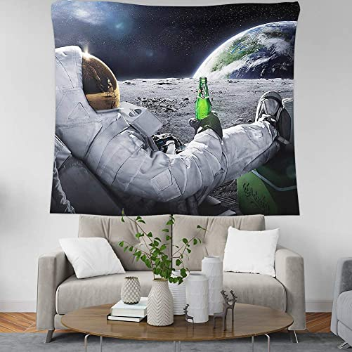 Whim-Wham Funny Astronaut Beer The Earth Tapestry Polyester Fabric Art Wall Hanging for Bedroom Living Room College.59inch x 91inch 150cmx230cm
