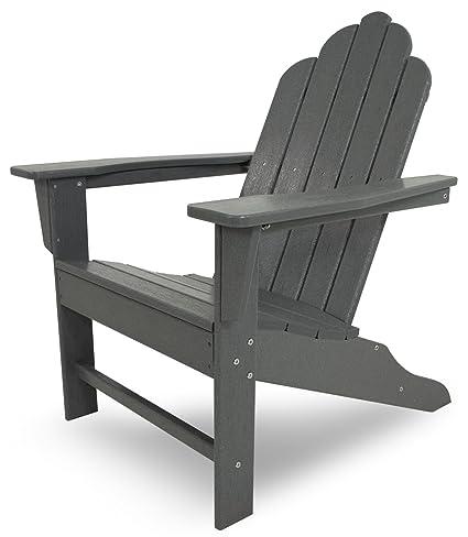 Bon POLYWOOD ECA15GY Long Island Adirondack Chair, Slate Grey