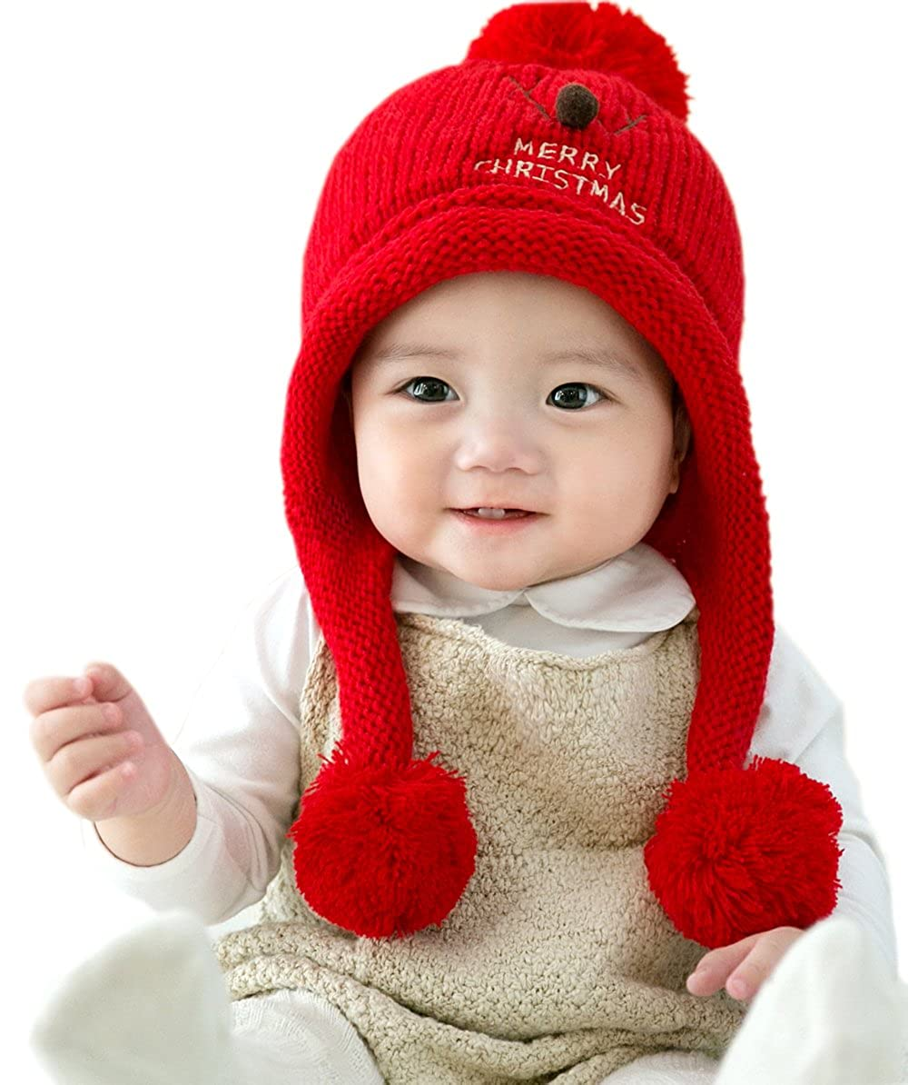 GZMM Unisex Newborn Baby Hat Warm Winter Earflap Beanie Skull Cap With Christmas Deer Design PGH286