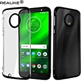 REALIKE Metal Electroplating Technology -Slim Ultra-Thin Full Transparent Case Soft Skin Protective Back Cover for Moto G6 Plus (Clear-Black)