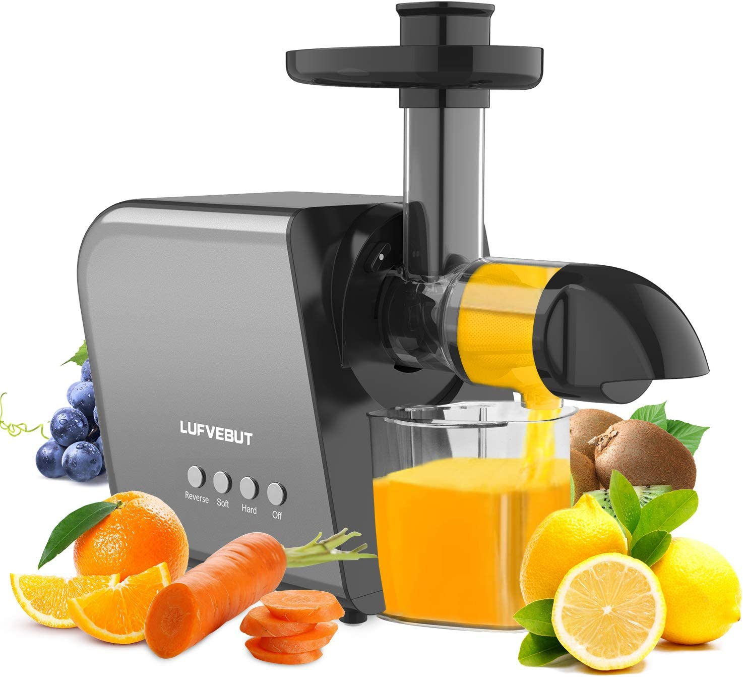 Slow Masticating Juicer Machine for Vegetable&Fruit, Upgraded Filter Auger, Higher Juice Yield, Easy to Clean Slow Juicer Extractor, Reverse Function, Cleaning Brush and 6 Pack Silicone Stretch Lids