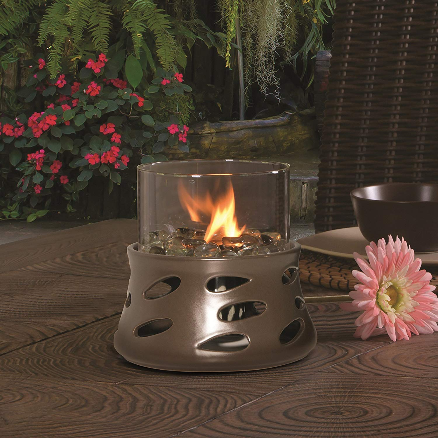 Bond Manufacturing 50013 Tabletop Umbrella Hole Mounted Gas Firebowl with Lava Glass Blue