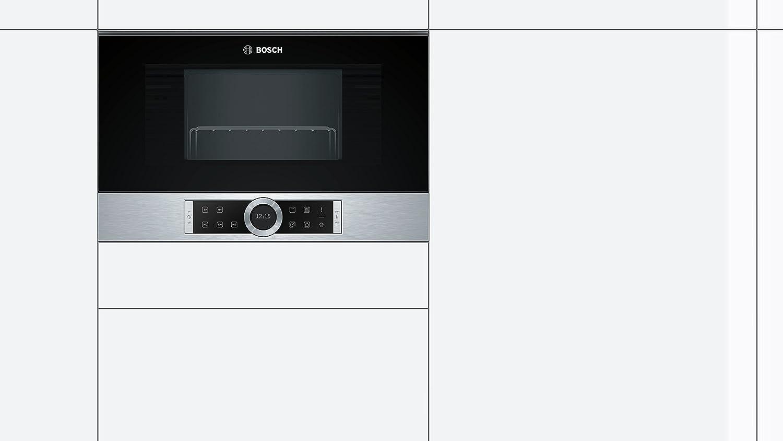 Bosch BER634GS1 Serie 8 - Microondas integrable / encastre, 21 L, 900 W, color negro con acero inoxidable