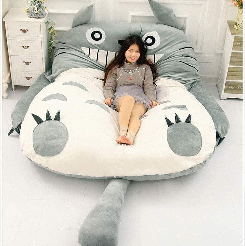 VIVITG Colchón Tatami Totoro Bolsa de Dormir Perezoso Sofa Cama, Dibujos Animados Cama para Tres Personas Colchón Calentar Suave Casa Totoro Colchón Tatami,200 * 130 cm