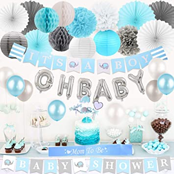 Baby Shower Decorations For Boys Elephant Theme Blue And Gray It S A Boy Baby Shower Banner Elephant Cake Toppers Paper Pom Poms Fans And Balloons