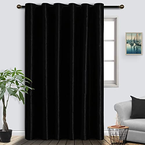 SUO AI TEXTILE Grommet Top Total Privacy Blackout Curtains Extra Wide Curtain Room Divider Curtain Panel for Living Room 10ft x 9ft Black 1 Curtain Panel