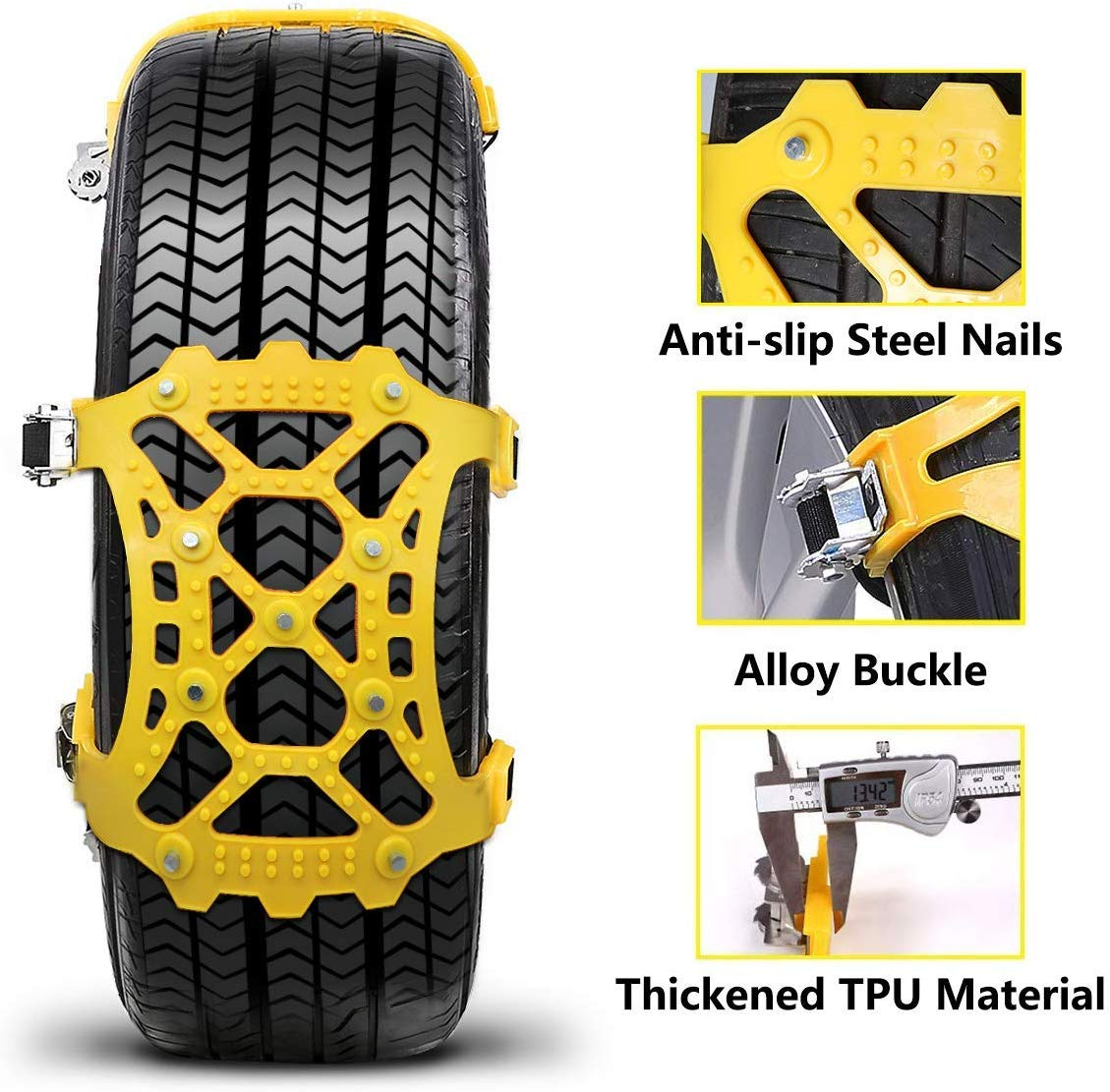 Anti-Skid Tire Traction Chains Portable for Light Truck//SUV Tire Emergency Thickening Security Tire Range165-285mm Vodche 6Pcs Universal Car Snow Chains