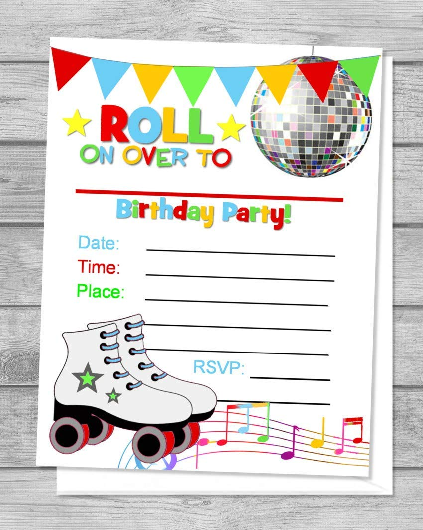 "Rollerskates Fill In Blank Invitations, Flat Cards, Set Of 3, Disco  Skating Birthday Party Invitations With Envelopes, Flat Card Invitations,  3.3"" x"