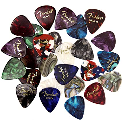 Fender 351 Premium Celluloid Guitar Picks 24 Variety Pack Thin, Med and Heavy