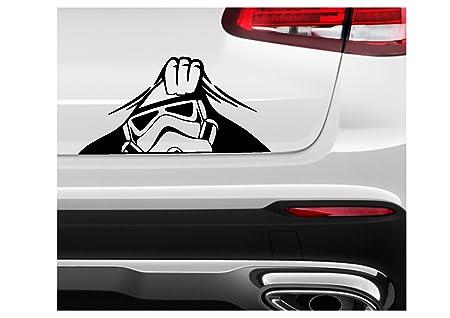 Star wars inspired stormtrooper 2 peeking funny vinyl decal sticker car