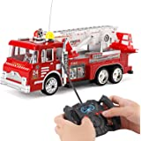 "10"" R/C Rescue Fire Engine Truck Remote Control Kids Toy with Extending Ladder & Lights"