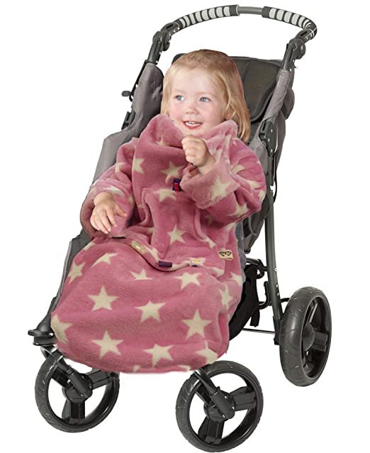 RAINBOW POP-ON Baby Toddler Blanket with Sleeves for Buggy Pushchair Car Seat