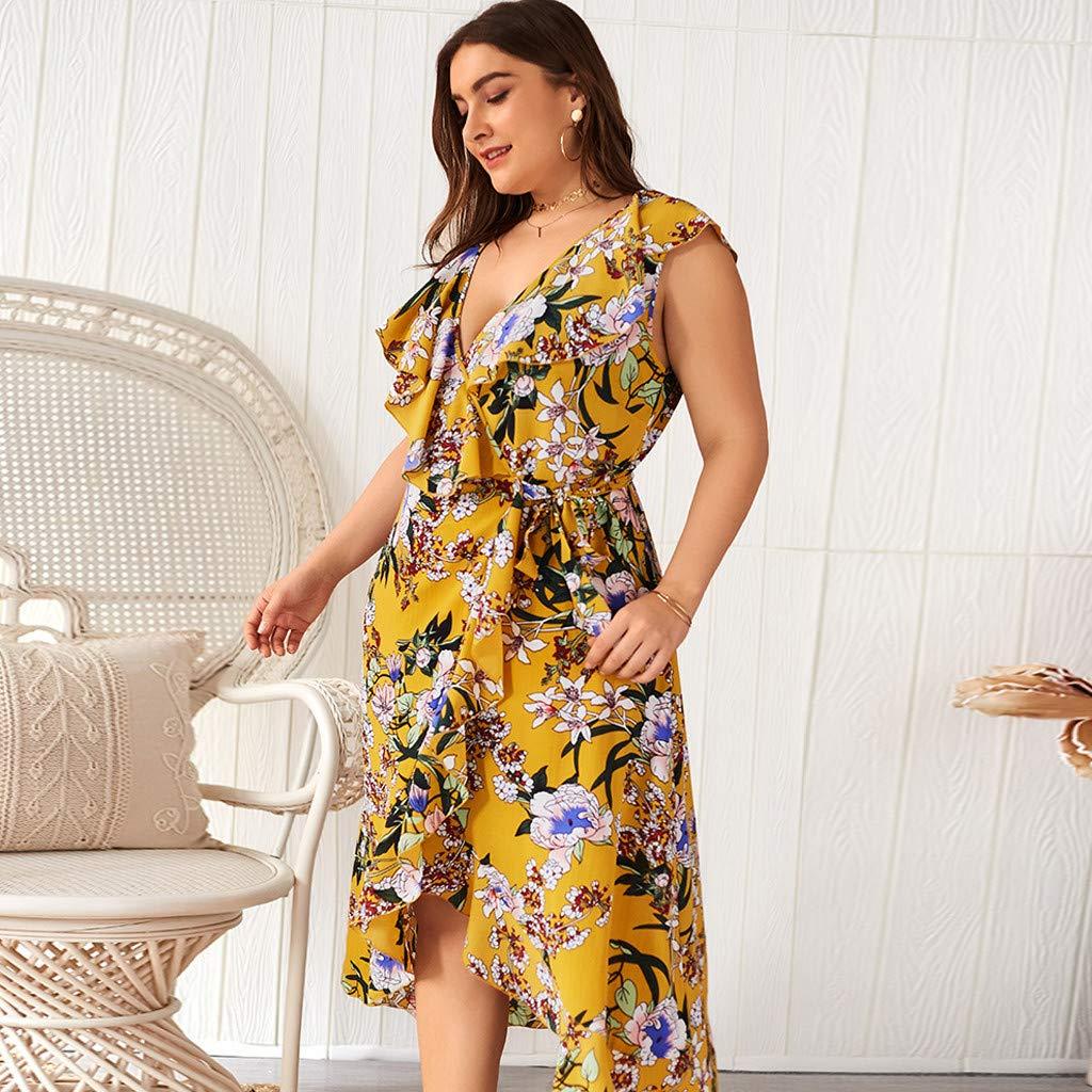 TPulling Kleider Damen Blumen Kleid Elegant Langarm Maxikleid Sommerkleider Maxikleider Blumenkleid Blumedrucken Strandkleid