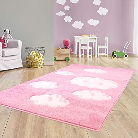 Taracarpet Kinder Teppich Für Das Kinderzimmer Bueno Hochwertig Mit Konturenschnitt Rosa Verträumte Wolken 080x150 Cm